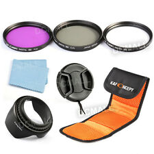 77mm Filter Kit UV CPL Polarizer FLD + Lens Hood Cap For Nikon Canon Sigma Lens