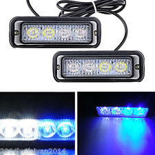 Blue White 4LED Car SUV Truck Front Rear Lower Upper Bumper Beacon Strobe Lights