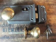 quality SET cast iron door lock with pair of brass knobs