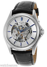 Rotary Mens Silver Dial  Black Leather Strap Skeleton Watch GS03357/06