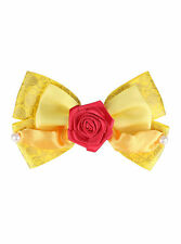 Disney Beauty & the Beast Belle ROSE Yellow Dress Up Costume Cosplay Hair Bow
