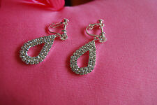 Dangling Screw-Back Clip-on Earrings with Clear Crystals of Swarovski Element