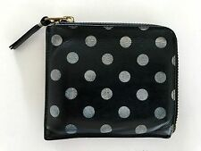 COMME DES GARCONS BLACK/WHITE LEATHER POLKA DOT PRINTED ZIP AROUND WALLET JUNYA