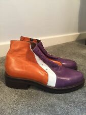 Tata - Naka Orange Purple & White Leather Ankle Smart Boots UK 7 40 Worn Once