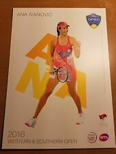 ANA IVANOVIC 5X7 2016 WESTERN & SOUTHERN ATP TENNIS TOURNAMENT COLLECTOR CARD