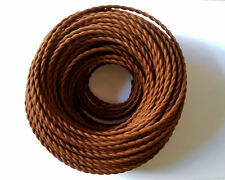 Brown Antique Braided Woven Silk Fabric Lamp Cable Wire Cord Light Electric Flex