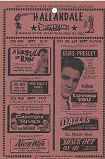 "ELVIS PRESLEY DRIVE-IN THEATRE UPCOMING ATTRACTIONS HANDOUT ""LOVING YOU""  2 SIDE"