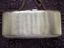 Vintage Elan Yellow Gold Metal Evening Purse Bag Long Link Chain Shoulder Strap