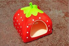 1x 650555 Red Super Soft Strawberry Tent Pet Bed Dog Cat House Warm Kennel 33cm