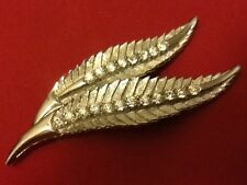 Vintage Brushed Silver Brooch Beautiful Leaf Leave Renditions With Crystal Veins