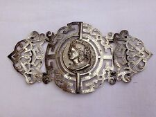 SUPERB LARGE ANTIQUE VICTORIAN NURSES BELT BUCKLE WITH QUEEN VICTORIA PORTRAIT