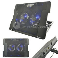 "Laptop Netbook COOLER COOLING PAD 2 USB FAN Stand per 15 17 ""Games Console"