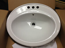 "22"" White 3 Hole Top Mount Vanity Sink"