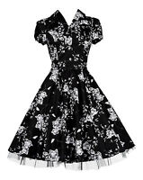 Ladies 40's 50's Vintage Style Black Floral Classic Swing Shirt Dress New 8 - 26
