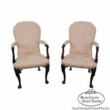 Kindel Pair of Mahogany Irish Georgian Queen Anne Arm Chairs