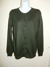 C BY BLOOMINGDALE'S 100% CASHMERE DARK OLIVE CARDIGAN BUTTONS FRONT SWEATER S