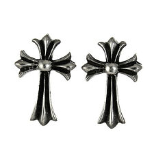 MEN STUD EARRINGS STERLING SILVER 925 FLORAL CROSS