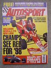 Autosport (8 Jan 1998) Richard Burns, Hans Stuck, Russell Ingall, Toyota, F3000