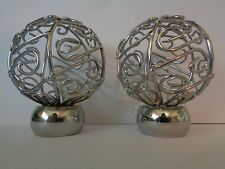 Pair of Chrome Effect Swirl Spiral Cage Ball Finials End For 28mm Curtain Pole