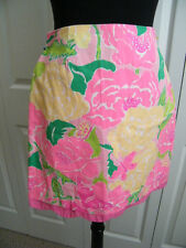 LILLY PULITZER JR GIRLS SZ 12 COTTON  MINI SKIRT BOLD BRIGHT FLORAL DESIGN