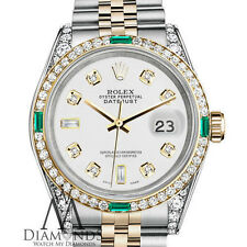 Women's Rolex Steel and Gold 31mm Datejust Watch White 8+2 Diamond Emerald Dial