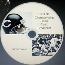 1963 Chicago Bears NFL Championshp Game radio broadcast in MP3 Format