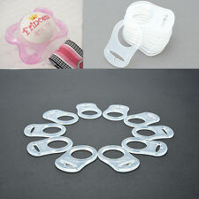 10pcs Clear Silicone Button MAM Ring Dummy / Pacifier Holder Clip Adapter New