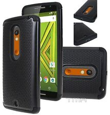 Motorola Moto X Play Rugged Rubber Impact Hybrid Shock Proof Case Cover - Black