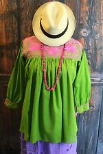Pink & Green Hand Embroidered Blouse Mayan Chiapas Mexico Peasant Santa Fe Style