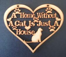 10 x Cat Home plaque Wooden Craft Shape blank 13cm x 15cm x 3 mm Mdf wood