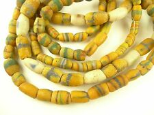 3 strands yellow w/ stripes African powder glass trade beads old tribal AB-0050