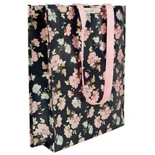 Eco Shopping Tote Bag Black Pink Rose Vintage Floral Shabby Chic Shoulder Beach