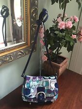Coach Bag Soho Signature Flap Sateen Cross Body #45757 Blue White B6