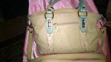 CREAM COLORED ROSE EMBOSSED LEATHER HANDBAG BY MARINO ORLANDI MADE IN ITALY