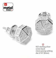 Men's Hip Hop Rh Plated Iced Out Mini Octagon Screw Back Stud Earring 465S