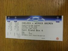 12/09/2006 Ticket: Chelsea v Werder Bremen [Champions League] . Thanks for viewi