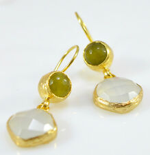 OttomanGems semi precious gemstone earrings gold Chalcedony Agate handmade