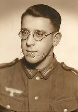 WWII German Large Army RPPC- Soldier- Uniform- Eagle Patch- Glasses- Regiment