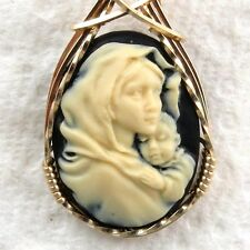 Mother Mary Baby Jesus Cameo Pendant 14K Rolled Gold Jewelry Beige Resin