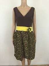 Yoana Baraschi Anthropologie Dress Storm Of Shapes $158 Brown Yellow NWT Size 10