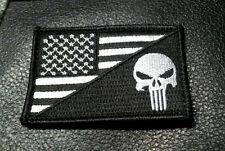 PUNISHER SKULL USA FLAG BLACK TACTICAL COMBAT ARMY MORALE HOOK PATCH