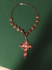 Statement Copper Bead and Gem Cross Necklace