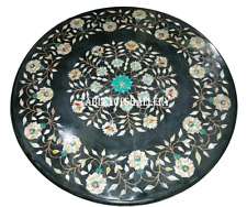 "24"" Black Marble Side Coffee Table Top Rare Inlay Gem Floral Deco Furniture H925"