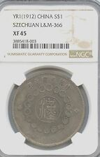 1912 Chinese REAR 1, China Szechuan Silver Dollar $1 NGC XF 45 y#456   L&M 366
