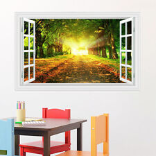 DIY 3D Window View Green Trees Forest Removable Wall Sticker Decal Decor Mural
