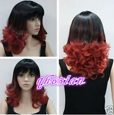 2017 Fashion Women black red mix curly wavy Cosplay party Wigs +free wig cap`