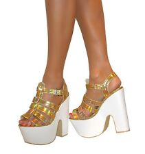 Ladies Gold Size 5 Platform Chunky Wedge High Heel Peep Toe Ankle Strap Shoes