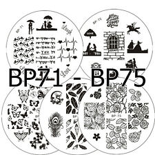 5Pcs BORN PRETTY BP71-75 Nail Art Stamping pochoir Template Image Stamp Plaques