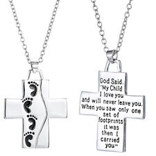 Alloy Silver Cross Pendant Necklace Footprints Prayer Christian Souvenir Jewelry