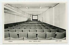 Vintage Queen Mary Real Photo Postcard - RMS - Cinema Movie Theater